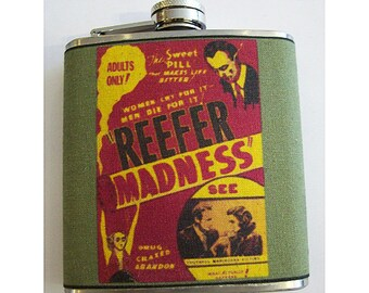 Reefer Madness flask retro vintage marijuana propaganda devil's harvest pot kitsch movie poster