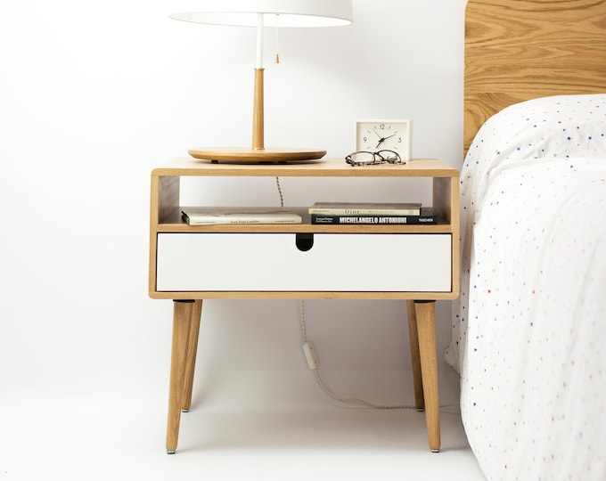 Mid-Century Scandinavian Side Table / Entry table / Dresser / commode / console Frame and legs made in Oak