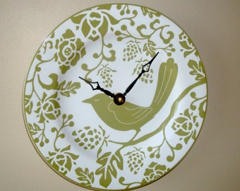Olive Bird Wall Clock 8-1/2 Inches SILENT, White and Olive Wall Clock, Ceramic Plate Clock, Kitchen Clock, Unique Wall Decor -  2520