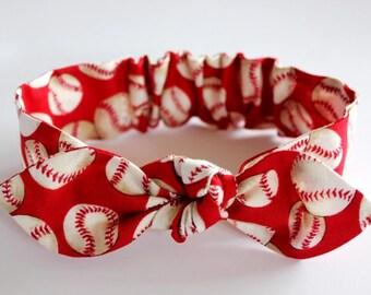 "Baseball headband, womens headband, red,""Cinci"", headbands for women, adult, girl, knot headband, red headband, baseball accessories"