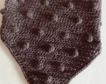 Neck-warmer in charcoal grey wool. Completely hand crocheted