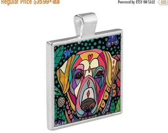 50% SALE- Yellow Labrador Retriever Necklace Lab Dog Folk Art Jewelry - Pendant Metal  Gift Art Heather Galler Gift-  Dog Lovers Abstra