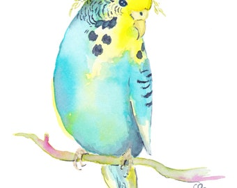 Budgie with flower crown - digital download - budgie art - budgie watercolor - parakeet art