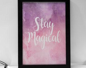 Stay Magical Watercolour Pink Print Girls Nursery Prints, Girls Prints, Playroom, Kids Decor