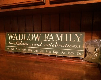 "Personalized Custom Carved Wooden Sign - ""Family Last Name, Birthdays and Celebrations - BIRTHDAY BOARD"" - 24""x6"""