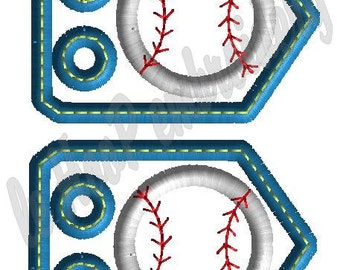 BASEBALL SOFTBALL 2 Applique Shoe Charms Machine Embroidery In-Hoop Design Monogram 4x4 5x7 6x10 Sports Tags Personalize MLB homerun Team