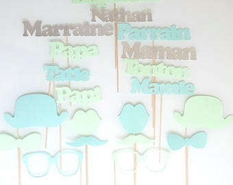 Photobooth child baptism set - custom name-Godfather godmother - argentepaillete