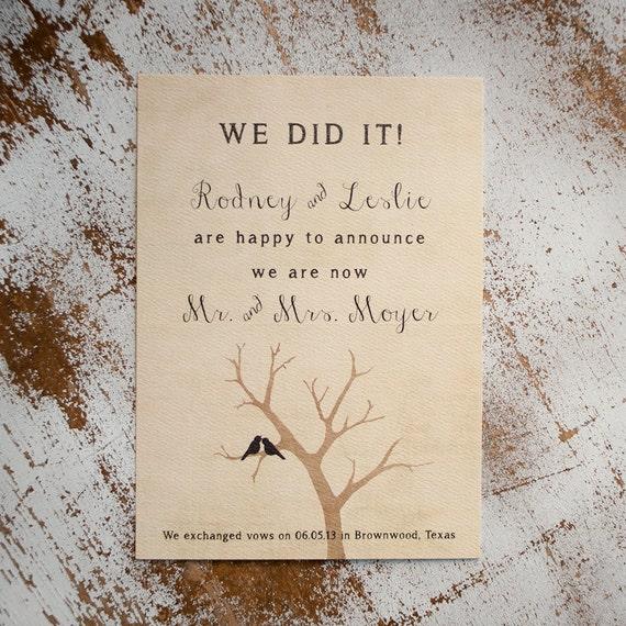 Rustic Wedding Announcement, Wedding Announcements  - the Lovebird  - elopement announcement, eloped, lovebirds, rustic postcard, unique