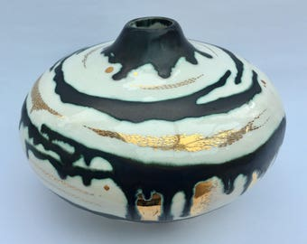 Ceramic pot with glaze and gold lustre. Fine art ceramic vessel.