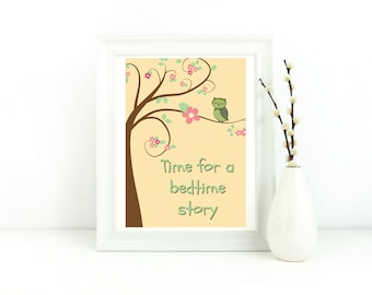 Gender neutral nursery, nursery wall art print, new baby gift, typography print, quote print nursery, kids room print, bedroom, owl, story
