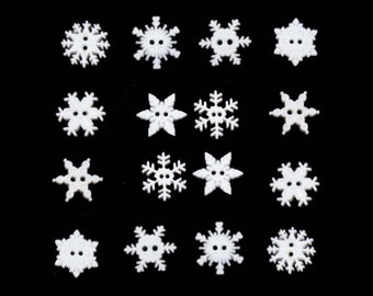 """Dress It Up - 1/2"""" Sew Thru Snowflake Buttons (14 Pieces)"""