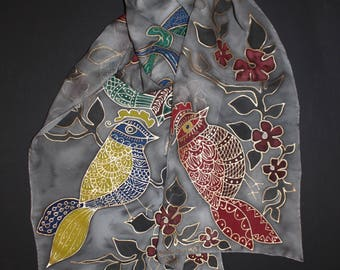 Hand painted silk scarf,Gold bird scarf,Gray red gold,Long chiffon scarf,Fall gift,Autumn gift for her