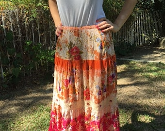 Peasant skirt, pink floral, long skirt, gypsy skirt, hippie skirt, medium, rhinestones