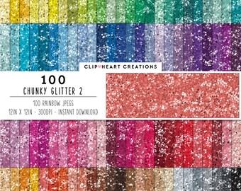 100 Chunky glitter Paper, Digital Paper, Commercial use, rainbow, glittered paper, digital scrap booking paper, glittered scrapbooking paper