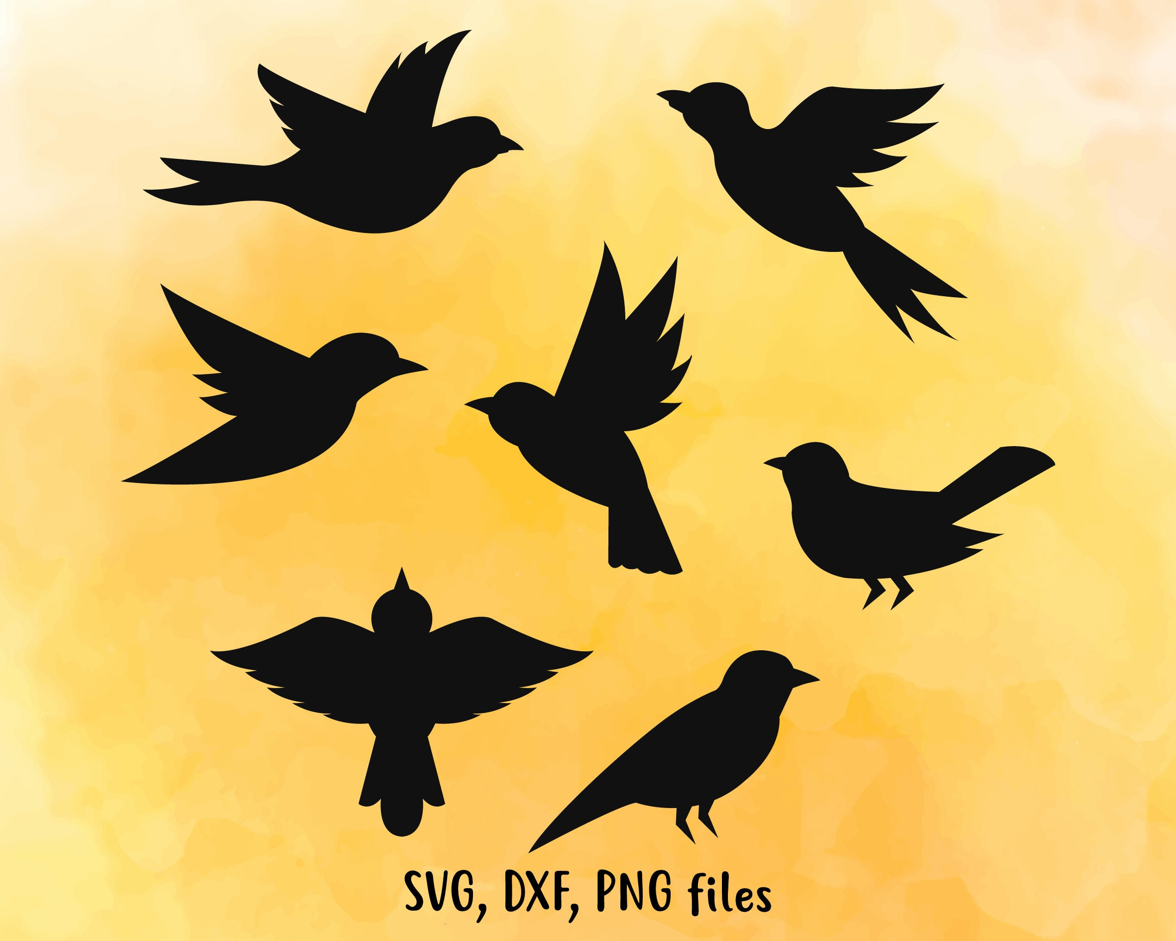 PNG SVG and DXF Files Flying Birds Silhouettes Clipart