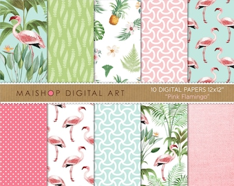 Tropical Digital Paper 'Pink Flamingo' Floral Scrapbook Backgrounds for Scrapbooking, Invitations, Stickers, Decoupage, Cards...