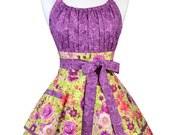 Flirty Chic Pinup Apron - Fresh Picked Purple Floral Apron - Womens Sexy Cute Retro Kitchen Apron with Pocket - Monogram Option