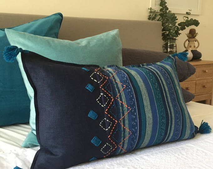 Fair Trade Blue/Teal Stripe Textile + Navy Washed Eco Friendly Linen + Australian Merino Wool Embroidery & Tassel Lumbar Cushion Cover