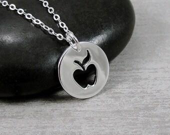 Sterling Silver Teacher's Apple Necklace, Apple Charm, Apple Pendant, Apple Cutout Charm, Teacher Gift, Teacher Appreciation Gift