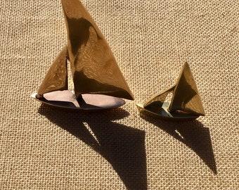 Mid-Century Modern Brass Sail Boat Pair