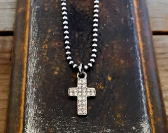 Simple Diamond Cross Necklace, Sterling Silver Cross Charm, Pave Diamond Cross Pendant Charm, Goth, Rock and Roll, Sterling Bead Chain