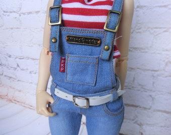 Minifee overall jeans blue light and belt