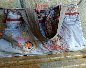 Handmade recycled bag from old jeans