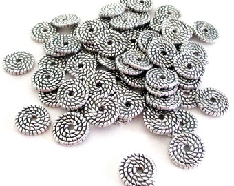 Silver Spiral Round Spacer - Silver Flat Rondelle Bead - Center Hole Beadcap - Silver Swirl Spacer - Diy Jewelry Findings - 10mm - 25 Pcs
