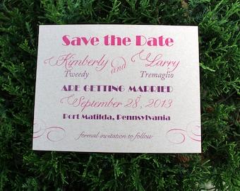 Kraft Save the Date Wedding Cards - Mixed Font Design Sample