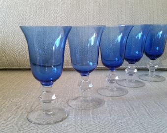 Beautiful Light Blue Tulip Wine Glasses - Set of 5