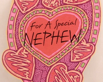 "NEW! Vintage ""Nephew"" on Valentine's Day by Dayspring. Single Greeting Card with Envelope."