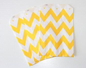 Yellow Chevron Favor Bag / Yellow Favor Bag / Yellow Treat Bag / 12 bags / Yellow Goodie Bags