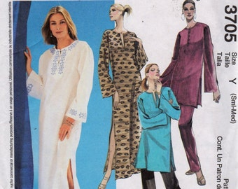 McCalls 3705 Misses Pullover CAFTAN Tunic Top and Pull On Pants Pattern Womens Vintage Sewing Pattern Size Small Medium Bust 31 - 36 UNCUT