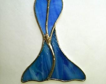 Mermaid Stained Glass Suncatcher, Siren, Sea Goddess, Beach Decor, Glass Mermaid Goddess, Mermaid Tail, Art & Collectibles, Glass Art, Gift