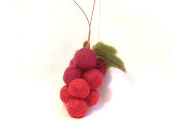 Miniature Fruit Ornament - Felt Christmas - Needle Felted Bunch of Red Grapes - Mini Christmas Ornament - Christmas Gift