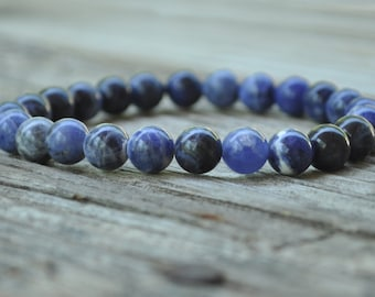 Mens Third Eye Chakra, 6th Chakra, Sodalite, Gemstone Therapy, Crystal Healing, Yoga Bracelet, Meditation Bracelet, Wish Bracelet, Reiki