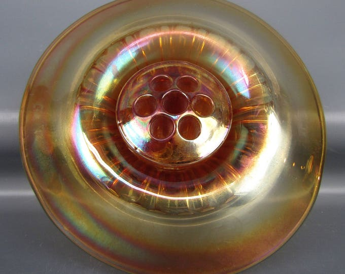 Carnival Glass - U. S. Glass FRANKLIN FLUTE Marigold Hat Vase & Frog