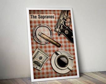 The Sopranos poster alternative film poster tv show poster Tony Soprano James Gandolfini New Jersey Italian food Little Italy