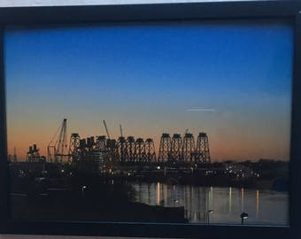 A4 Framed Professional Print of the River Tyne from Jarrow towards Wallsend