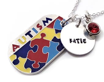Autism Necklace Dog Tag Personalized Hand Stamped Puzzle Piece Awareness