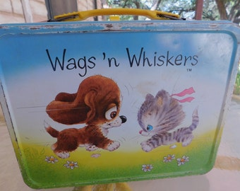 Wags n Whiskers Lunch Box/Vintage Metal Lunch Box
