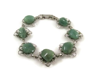 Statement Bracelet Stone Bracelet Green Stone Green Bracelet Natural Stone Silver Bracelet Gift Idea Gifts For Her Polished Stone
