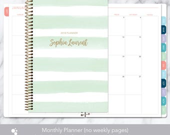MONTHLY PLANNER | 2018 2019 no weekly view | choose your start month | 12 month calendar monthly tabs personalized | mint watercolor stripes