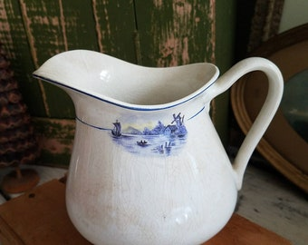 Vintage Ironstone Pitcher / Vintage China / Vintage Transferware / Vintage Pitcher / Antique Dishes / W. S. George Dishes / Farmhouse Style