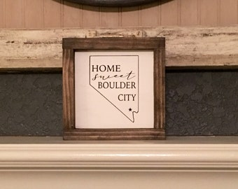 "Home Sweet Boulder City| new home gift  7""x 7"" framed"