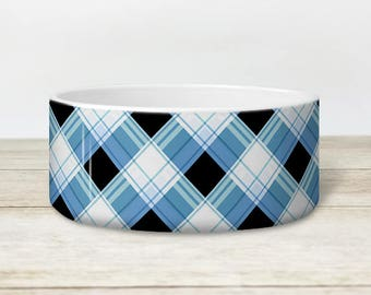 Alternative Plaid Pet Bowl - Blue and Black Pattern - Dog or Cat Heavyweight Ceramic Bowl