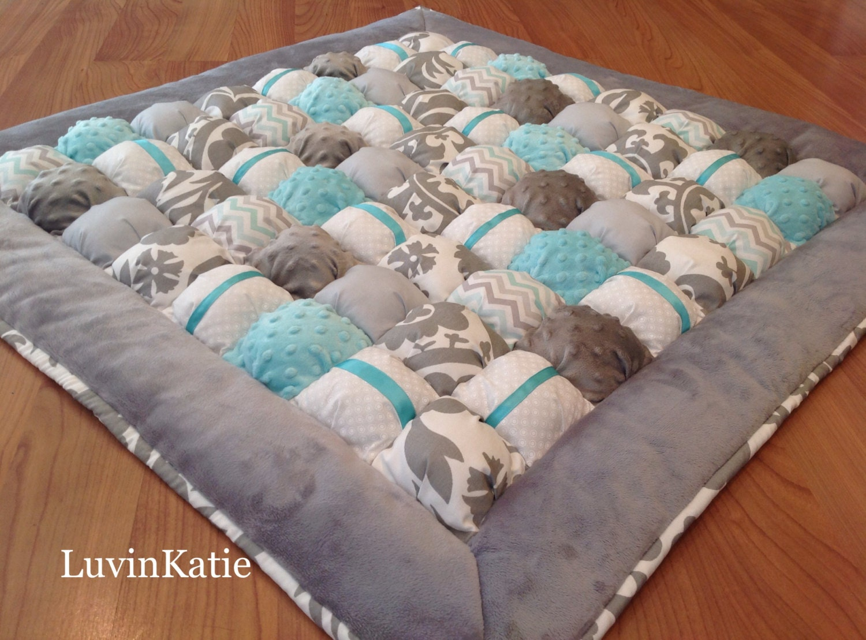 Bubble Quilt Bubble Blanket Puff Quilt GRAY AQUA WHITE : baby floor quilt - Adamdwight.com