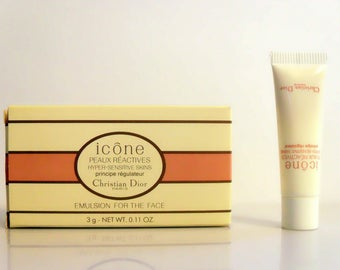 Vintage 1990s Christian Dior Icone Peaux Reactives Hyper Sensitive Skins Principe Regulateur  0.11 oz Cosmetic Skin Care Sample Tube in Box