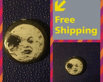 A Trip To The Moon, Silent Film by Georges Méliès Button Pin FREE SHIPPING & Coupon Codes