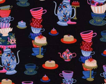 Mad Tea Party Black - Wonderland - Anna Bond Rifle Paper Co - Cotton + Steel - 8018-01